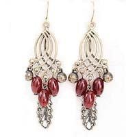 Nostalgic bohemian tassels leaf drop earrings