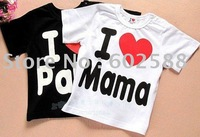 20pcs Baby short sleeve shirt top clothes i love mama papa shirts free shipping