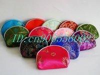 Free Shipping! Wholesale Mixed Color 12 PCS Silk Purse Wallet Makeup MP3 Bag Xmas Lover Birthday Christmas Gift silk W10