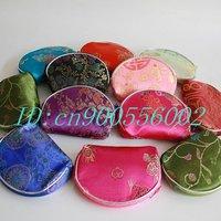 Free Shipping! Wholesale Mixed Color 50 PCS /lot Silk Purse Wallet Makeup MP3 Bag Xmas Lover Birthday Christmas Gift silk W09