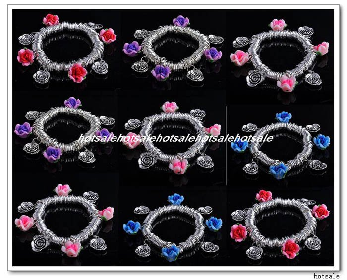 Promotion&free shipping~Wholesale Mix Lots 12polymer clay beads flower silver tone Craft Stretchy bracelet Chain Costume jewelry(China (Mainland))