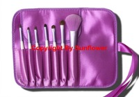 2012 Free Shipping + Makeup Brush/Brushes Cosmetic 7pcs/Set Case,Purple Makeup Brush for  Eye Shadow