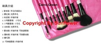 Free shipping/Makeup Brush/Brushes Cosmetic Set Leather Case/High quality Super Star Makeup 100% wool Brush 10pcs/Set