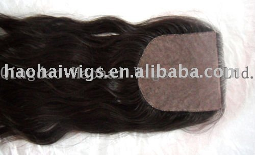 "18""- virgin - Natural wave - Swiss lace - dark brown base 5""x5"" - 100% Brazilian Remy human hair - silk top closure(China (Mainland))"