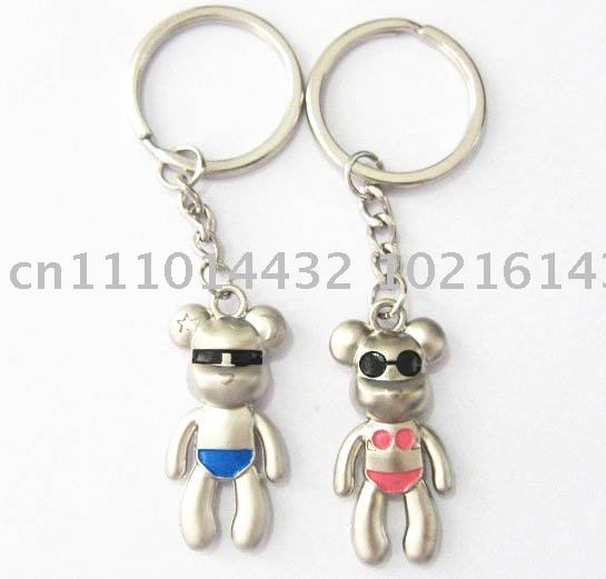 Fashion Bear w/ Sunglasses Metal Key chain Key ring Lover Keychains Valentine&#39;s Day Gift 60Pairs/Lot Free Shipping(China (Mainland))