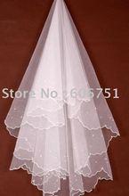 3pcs/lot single yarn wedding dress veils 1.5m bead bridal veils wedding veils hair accessories T01(China (Mainland))