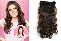 "Free shipping 23"" Jessica Simpson Style,Soft Waves Clip in hair Extension (1 pc),#1B Natural black,#18 lightest brown"