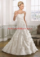Free shipping new fashion white one-should feather wedding dress /good wedding gown /popular bridal dress / bridal gown