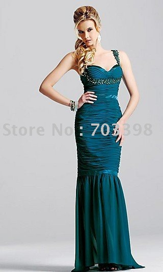 New arrival hot Fashion spaghetti straps Prom dresses chiffon beaded elegant Mermaid Formal party gowns Cocktail evening dresses(China (Mainland))