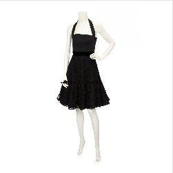 Free shipping designer lady black halter short cocktail dress with lace details Black G75