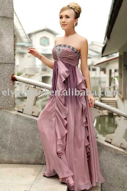 Sheath/ Column Strapless Floor-length Chiffon Satin Quick Delivery Evening/ Prom Dress(China (Mainland))