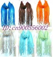 Lot 50 Gorgeous 100% Georgette Silk flounce Scarves scarf shawl H04