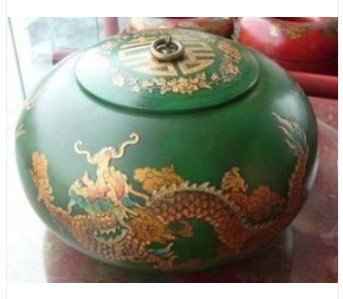 RARE jewelry box leathern Green Dragon by EMS Free shipping