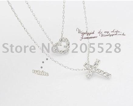 freeshipping/Double Heart Cross Necklace//hot sell/Wholesale/20pcs/lot(China (Mainland))