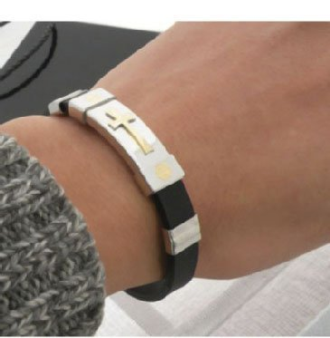 wholesale- Fashion bracelet,bangles cross stainless steel + silicone bracelet unisex,12 pcs/lot(China (Mainland))