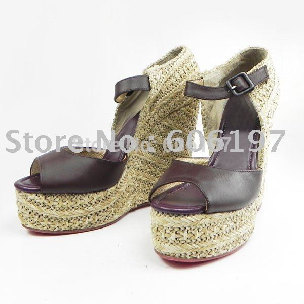 Free shipping, 2011 new style genuine leather wedge, fashion high heel shoes,women high heel sandal(China (Mainland))
