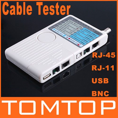 Remote RJ11 RJ45 USB BNC LAN Network Phone Cable Tester Meter, Free Shipping(China (Mainland))