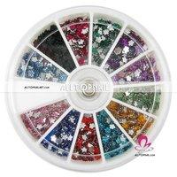 Free shipping-55Wheel Flower nail Rhinestones 12color 1200pcs/wheel A_Grade Nail art Rhinestone