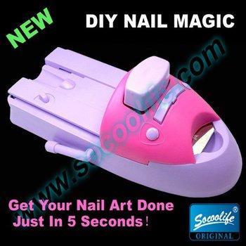 Free shipping!New hot sale diy nail magic polish machine,nail art coloring device