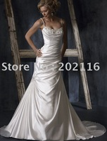 Custom-made Design Wedding Dresses Sleeveless Lustrous Satin Chapel Train Maggie Adorae No.YY141