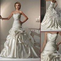 HS9917 Free Shipping classic100% Guaranteed Floor-length Ball Gown sleeveless top taffeta beaded bridal dress