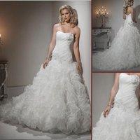 HS9918 Classic Free Shipping 100% Guaranteed Floor-length A-line sleeveless top organza beaded bridal dress