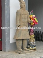 Pure handmade terra-cotta warriors of archaize color officer