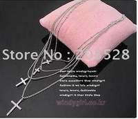 freeshipping,Full drilling four layers cross necklace,hot sell/Wholesale/12pcs/lot,pendant necklace
