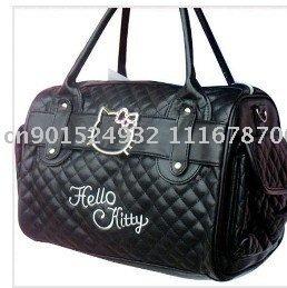 Free Shipping Fashion Brand New Hello Kitty shoulder bag tote handbag purse +Fashion earrings black