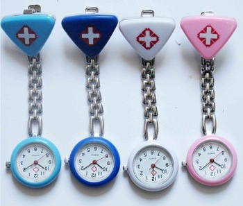 triangle nurse watch pocket watch brooch watch hanging watch nurse tool 4colors+Free shipping + Wholesale 100pcs/lot