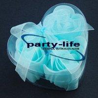 Blue 3pcs/set Handmade Wedding Favor Rose Bud Petals Soaps,gift sets for Valentine wedding,100sets/lot,free shipping