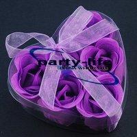 Purple 6pcs/set Handmade Wedding Favor Rose Bud Petals Soaps,gift sets for Valentine wedding,100sets/lot,free shipping