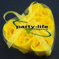 Yellow 6pcs/set Handmade Wedding Favor Rose Bud Petals Soaps,gift sets for Valentine wedding,100sets/lot,free shipping