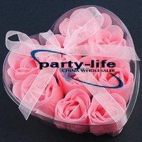 Pink 9pcs/set Handmade Wedding Favor Rose Bud Petals Soaps,gift sets for Valentine wedding,100sets/lot,free shipping