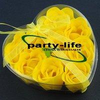 Yellow 9pcs/set Handmade Wedding Favor Rose Bud Petals Soaps,gift sets for Valentine wedding,100sets/lot,free shipping