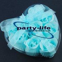 Blue 9pcs/set Handmade Wedding Favor Rose Bud Petals Soaps,gift sets for Valentine wedding,100sets/lot,free shipping