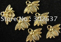 FREE SHIPPING 150Pcs Antiqued gold adorable bee drops A742G