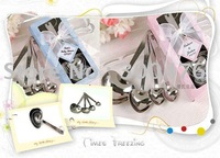 Wholesale 20pcs/lot New 4pcs/set Stainless Steel Heart Shaped Measuring Spoon Set For Valentines Wedding