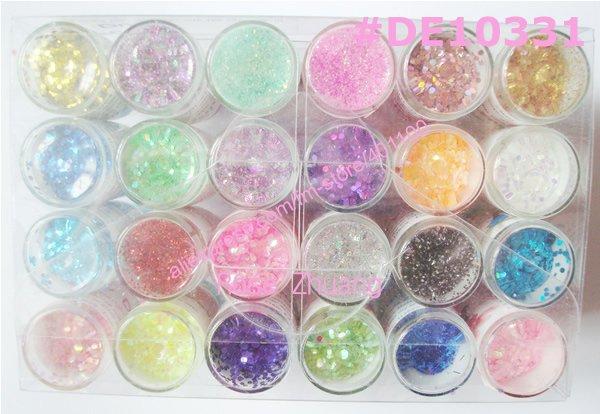 Freeshipping-24 Colors Nail Art Glitter acrylic powder for nail ...