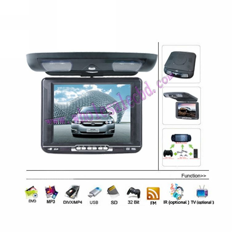 10.4-Inch Mounted Roof Car Over-Head Flip Down DVD Player FM IR USB SD MP4/MP332 bit game 2 pcs with Headphones(China (Mainland))