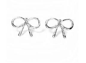 New Alloy cutout butterfly knot stud ring silver free shipping(China (Mainland))