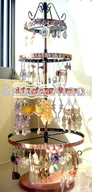 Free shipping metal four layers rotating earring display stand/jewelry display/wholesale price(China (Mainland))