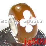 10pcs JP509 Murano Glass Bead with 925 sterling sivler core