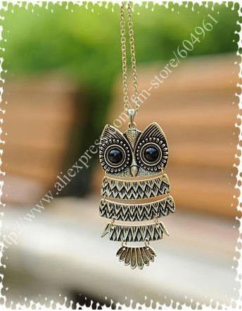 Wholesale Retail Fashion Korean Cool Big Eyes Owl Necklace Glod Silver Pendant F32(China (Mainland))