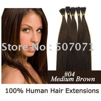 "18"" REMY Pre Stick-tipped Human Hair Extensions 100S #04 medium brown,0.5g/s"