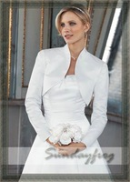 Free Shipping in Stock Long Sleeves Satin Wedding Bolero Jacket -Jacket10