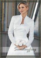 Free Shipping in Stock Long Sleeves Satin Wedding Bolero Jacket -Jacket10