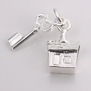 5pcs/lot Wholesale Guaranteed 100% New 925 silver-plated cute house & key charms pendants +Free shipping TP059