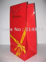 OEM wine paper bag/gift packing bag whole sale/retail free sample availabled