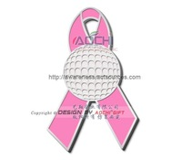 Free Shipping Newest Best Selling Hot Selling High Quality Breast Cancer Awareness Golf Ball Pink Ribbon Lapel Pins